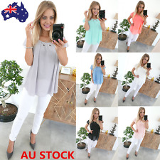 Womens Summer Chiffon Short Sleeve Shirt Loose Casual Office OL Tops Blouse Plus