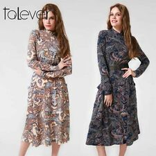 Retro New Casual Women Floral Print Dress Long Sleeve Sexy Bodycon Loose Dresses