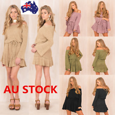 AU Women Off Shoulder Long Sleeve Knitted Sweater Dress Party Loose Mini Dress