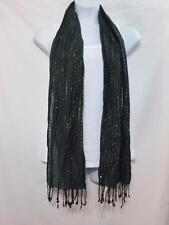 NWT Cejon Scarf Green w/ Sequins Accents Fringe Ends One Size