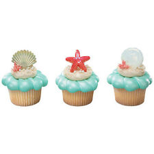Shell Beach Party Cupcake Topper Rings - Set of 12 {Ocean, Pool, Sand, Seashell}