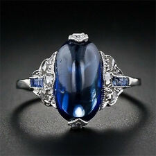 925 Silver Women Men Blue Sapphire Engagement Wedding Gift Ring Size 6-10