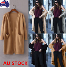 AU Women Long Sleeve Knitted Cardigan Loose Sweater Outwear Pocket Jackets Coat