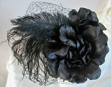 Brand New Hand Crafted  Black Feather, Silk & Net Fascinator on band