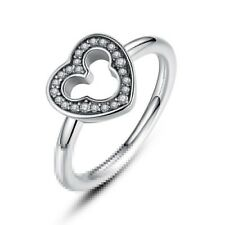 Heart White Topaz 925 Silver Men Women Jewelry Engagement Wedding Ring Size 6-10