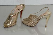 New Christian Louboutin BRETELLE 100 Strappy Sandals Gold  Platinum Shoes 38 39