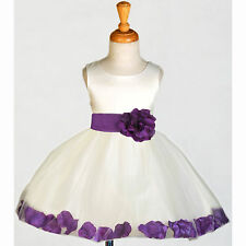 IVORY WEDDING FLOWER GIRL DRESS RECITAL TULLE TODDLER 12-18M 2 3T 4 5T 6 8 10 12