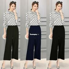 Women Pull On Pleated Wide Leg Solid Casual Loose Capri Pants Trousers ES9P