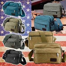 Men's Canvas Vintage School Satchel Messenger Military Shoulder Bag Leather Bag