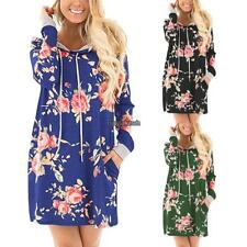 Women Fashion Hooded Long Sleeve Floral Print Pullover Hoodie Dress A+++