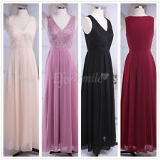 Women's Long Lace Evening Cocktail Party Prom Bridesmaid Ball Gown Chiffon Dress