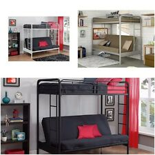 Twin Over Futon Bunk Bed frame w ladder metal kids dorm w w/o mattresses Loft