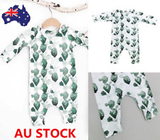 Infant Baby Kids Boys Girls Leaf Print Jumpsuit Romper Bodysuit Clothes Outfit
