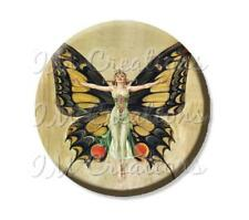 "Handmade 2.25"" Pocket Mirror, Magnet or Pinback Vintage Retro Butterfly 1920's"