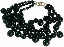 KENNETH JAY LANE-3 STRAND BLACK BEADS CLUSTER DROPS NECKLACE