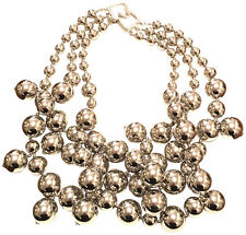 KENNETH JAY LANE-3 STRAND SKINNY SILVER BEADS CLUSTER DROPS NECKLACE