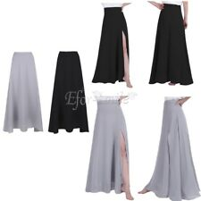 Women Long Chiffon Skirt Bridesmaid Wedding Evening Party Front Side Split Dress