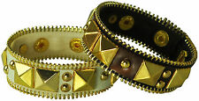 LEATHER & GOLD STUDS & ZIPPER  ACCENT BRACELET, CHOOSE: BROWN OR WHITE
