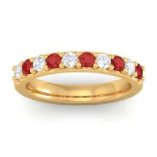 Red Ruby IJ SI Round Diamonds Classic Half Eternity Band Solid Gold Certified