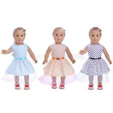 "Doll Clothes for 18"" American Girl Handmade Polka Dot Garden Dress with Belt"