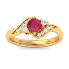 Red Ruby IJ SI Natural Gemstone Diamond Engagement Ring Solid Gold Certified