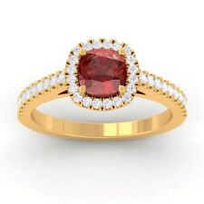 Red Garnet IJ SI Diamonds Halo Gemstone Engagement Ring Solid Gold Certified