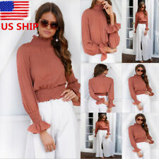 US Womens High Neck Long Flared Sleeve Tops Pleated Shirt OL Blouse Cocktail Tee