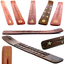 Wooden Incense Stick Holder Ash Catcher Pentagram Yin Yang Buddha Stars Flowers