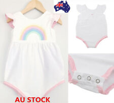 Toddler Baby Girls Rainbow Jumpsuit Romper Bodysuit Ruffled Short Sleeve Outfits