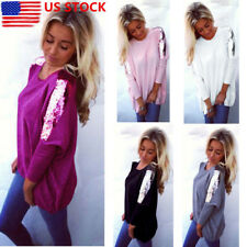 US Womens Sequins Long Batwing Sleeve Tank Tops Casual Loose Blouse T-Shirt Tee