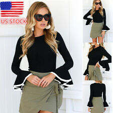 Lady Crew Neck Long Ruffle Flared Sleeve Crop Top Fitted Bodycon Slim Tops Shirt