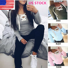 US Womens V neck Long Sleeve Tops Front Lace up Solid Pullover Blouse Shirt Tee
