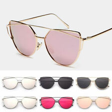 Womens Flat Lens Mirror Metal Frame Oversized Cat Eye Sunglasses Shades Eyewear