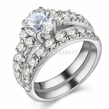 Pure 925 Sterling Silver Wedding Ring Sets AAA CZ Engagement Band Trendy Jewelry