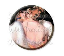 "Handmade 2.25"" Pocket Mirror, Magnet or Pin Vintage 1920s Flapper's Reflection"