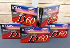 NEW TDK D60 Audio Cassettes 60 Min High Output IECI/TYPE I - SEALED - LOT of 5