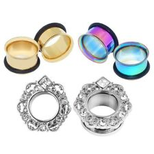 3pairs Gauge Stainless Steel Single Flared Ear Plugs Tunnel O-ring Stretcher Kit
