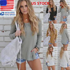 Womens Long Sleeve Split Sweater Knitted Button V neck Tops Casual Blouse Shirt