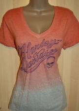 NWT Harley Davidson Dip Dyed Ombre Heathered Coral Gray Willie G Top Tee Shirt