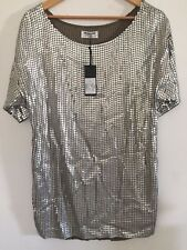 One Teaspoon Shirt Dress Sz S Silver Sequin Metallic Mini Tee Dress NWT