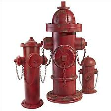 Set of 3: Vintage Style Firefighter Red Metal 3 Nozzle Fire Hydrant Statues