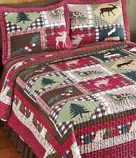 Cabin in Woods Quilt Set Sham King Queen Full Twin Reversible Bedding Rugs Sizes