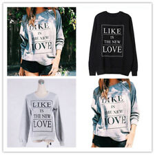 Women Casual Letter Print Crew Neck Long Sleeves Loose Pullover Sweatshirt
