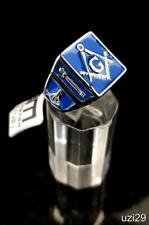NWT Masonic Free Mason Stainless Steel Men's Ring Silver Tone with Blue Face
