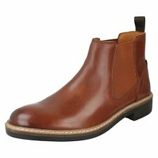 MENS CLARKS LEATHER ELASTIC GUSSET PULL ON CHELSEA ANKLE BOOTS BLACKFORD TOP