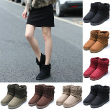 Women Suede Knit Ankle Snow Boots Thicken Warm Winter Short Boots Fur Ski Shoes