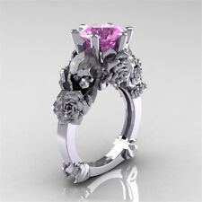 Woman Man 925 Silver Flower 1.4ct Pink Sapphire Wedding Engagement Ring Size6-10
