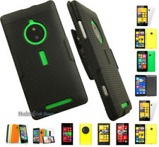 BLACK RUBBERIZED HARD CASE COVER + BELT CLIP HOLSTER STAND FOR NOKIA PHONE