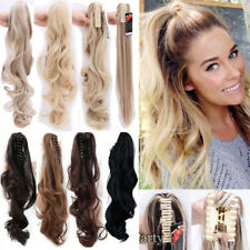 Women New Claw On Ponytail Clip In Hair Extensions Long Straight Wavy Curly FP1