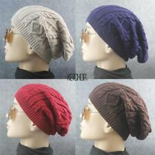 New Men Ladies Knitted Woolly Winter Oversized Slouch Beanie Hat Cap KECP